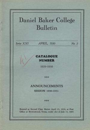 Primary view of object titled 'Catalog of Daniel Baker College, 1929-1930'.