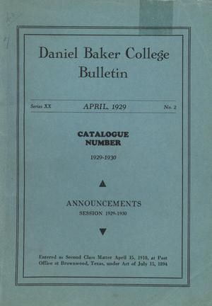 Primary view of object titled 'Catalog of Daniel Baker College, 1928-1929'.