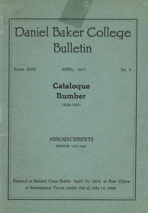 Primary view of object titled 'Catalog of Daniel Baker College, 1926-1927'.