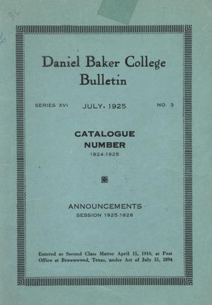 Primary view of object titled 'Catalog of Daniel Baker College, 1924-1925'.