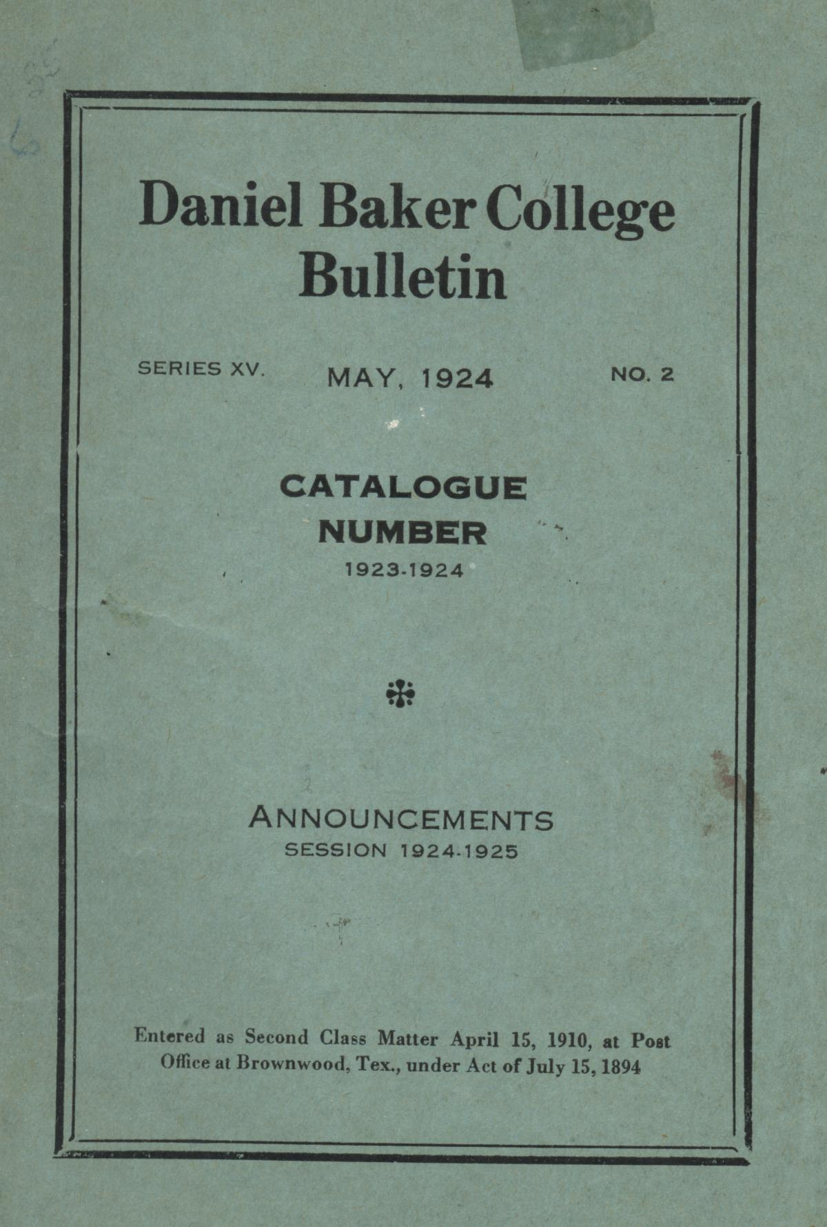 Catalog of Daniel Baker College, 1923-1924                                                                                                      Front Cover