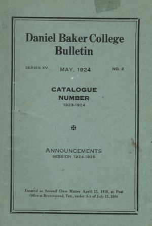 Catalog of Daniel Baker College, 1923-1924