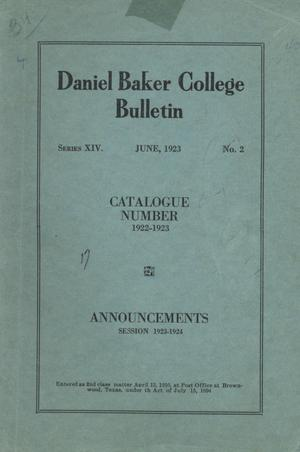 Primary view of object titled 'Catalog of Daniel Baker College, 1922-1923'.