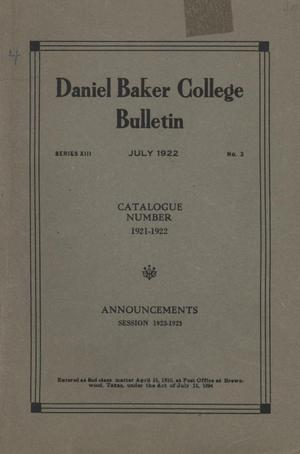Primary view of object titled 'Catalog of Daniel Baker College, 1921-1922'.
