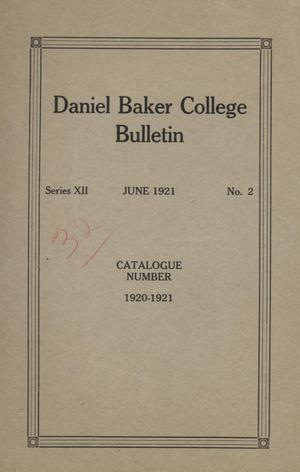 Primary view of object titled 'Catalog of Daniel Baker College, 1920-1921'.
