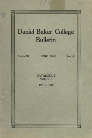 Primary view of object titled 'Catalog of Daniel Baker College, 1919-1920'.