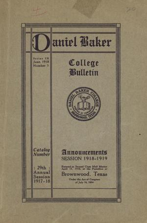 Primary view of object titled 'Catalog of Daniel Baker College, 1917-1918'.