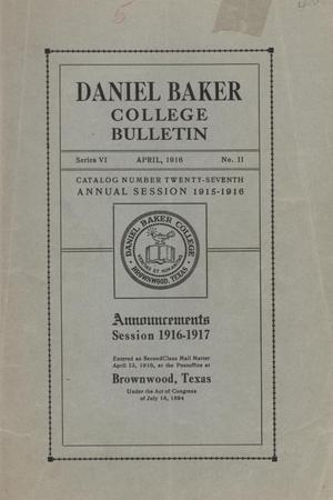 Primary view of object titled 'Catalog of Daniel Baker College, 1915-1916'.