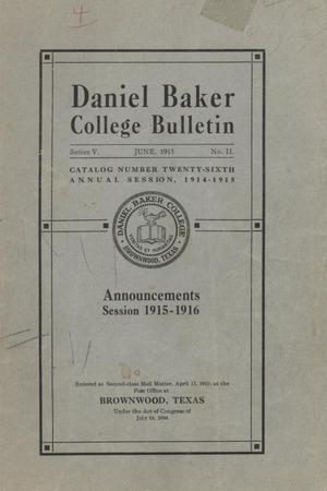Primary view of object titled 'Catalog of Daniel Baker College, 1914-1915'.