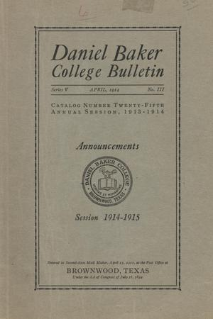 Primary view of object titled 'Catalog of Daniel Baker College, 1913-1914'.