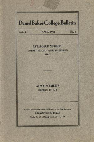 Primary view of object titled 'Catalogue of Daniel Baker College, 1910-1911'.