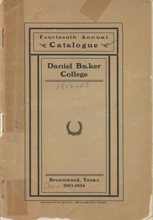 Catalogue of Daniel Baker College, 1903-1904