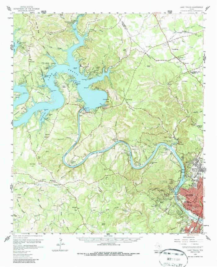 lake travis texas map Lake Travis Quadrangle The Portal To Texas History lake travis texas map