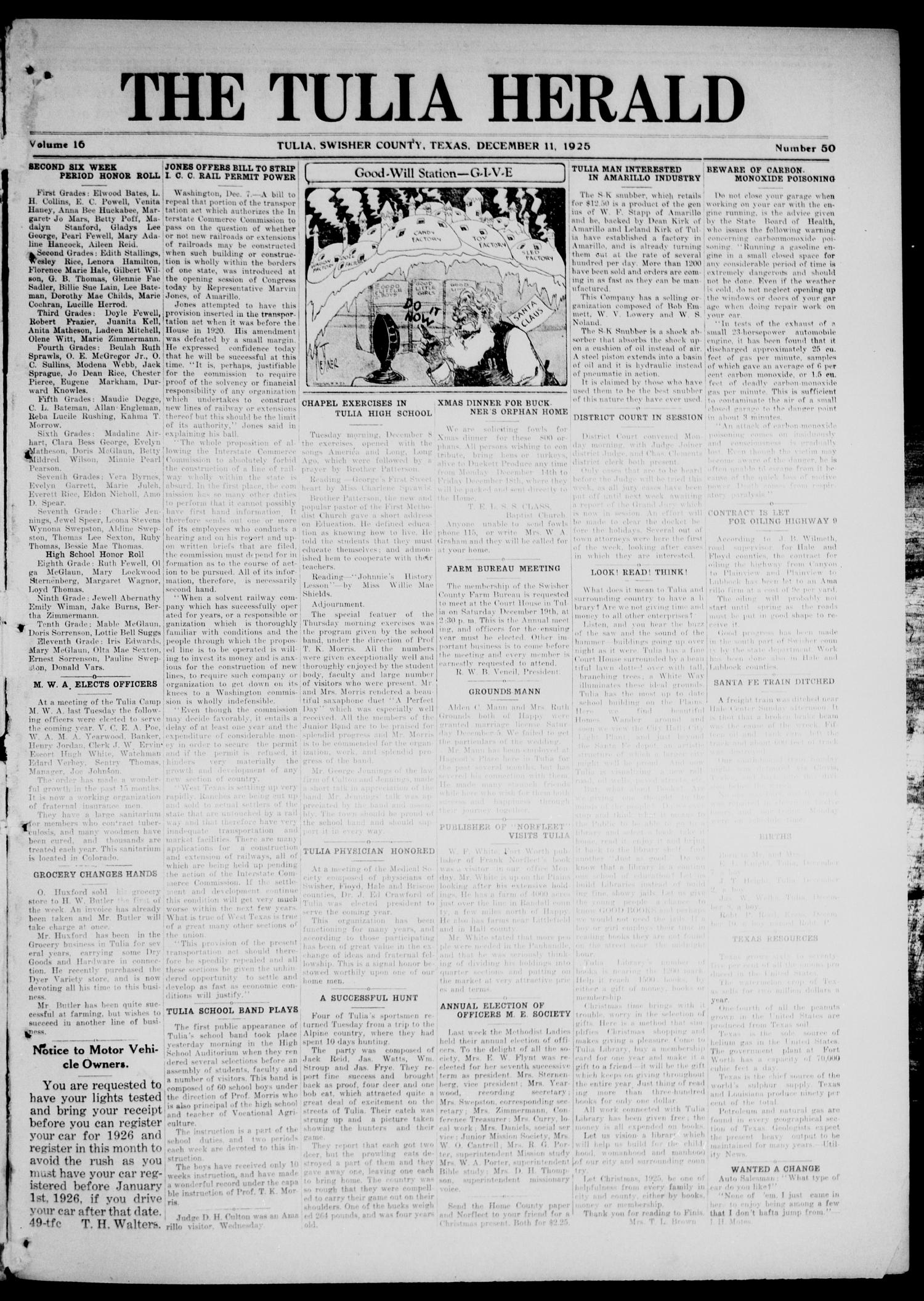 The Tulia Herald (Tulia, Tex), Vol. 16, No. 50, Ed. 1, Friday, December 11, 1925                                                                                                      1