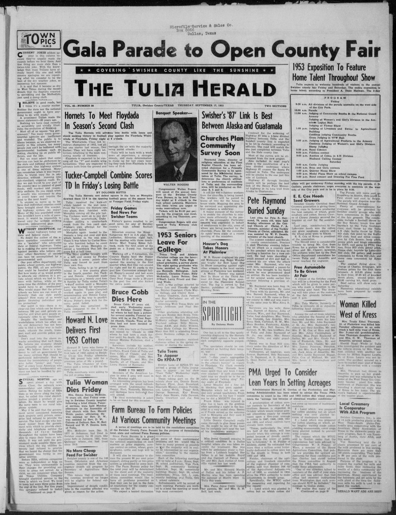 The Tulia Herald (Tulia, Tex), Vol. 46, No. 38, Ed. 1, Thursday, September 17, 1953                                                                                                      1