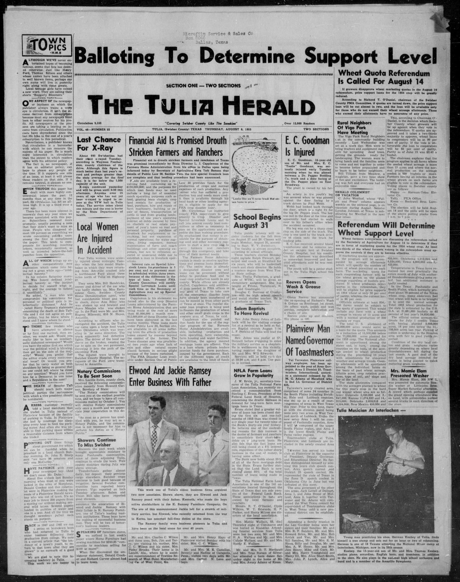 The Tulia Herald (Tulia, Tex), Vol. 46, No. 32, Ed. 1, Thursday, August 6, 1953                                                                                                      1