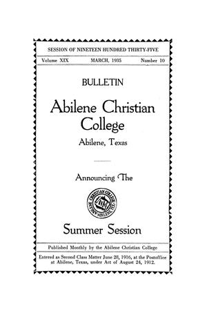 Primary view of object titled 'Catalog of Abilene Christian College, 1935'.