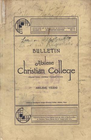 Primary view of object titled 'Catalog of Abilene Christian College, 1919-1920'.
