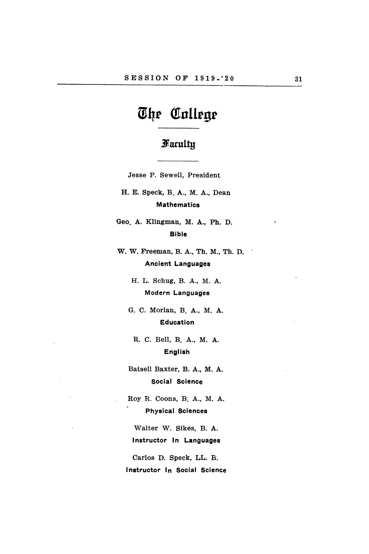 Catalog of Abilene Christian College, 1919-1920                                                                                                      [Sequence #]: 33 of 84