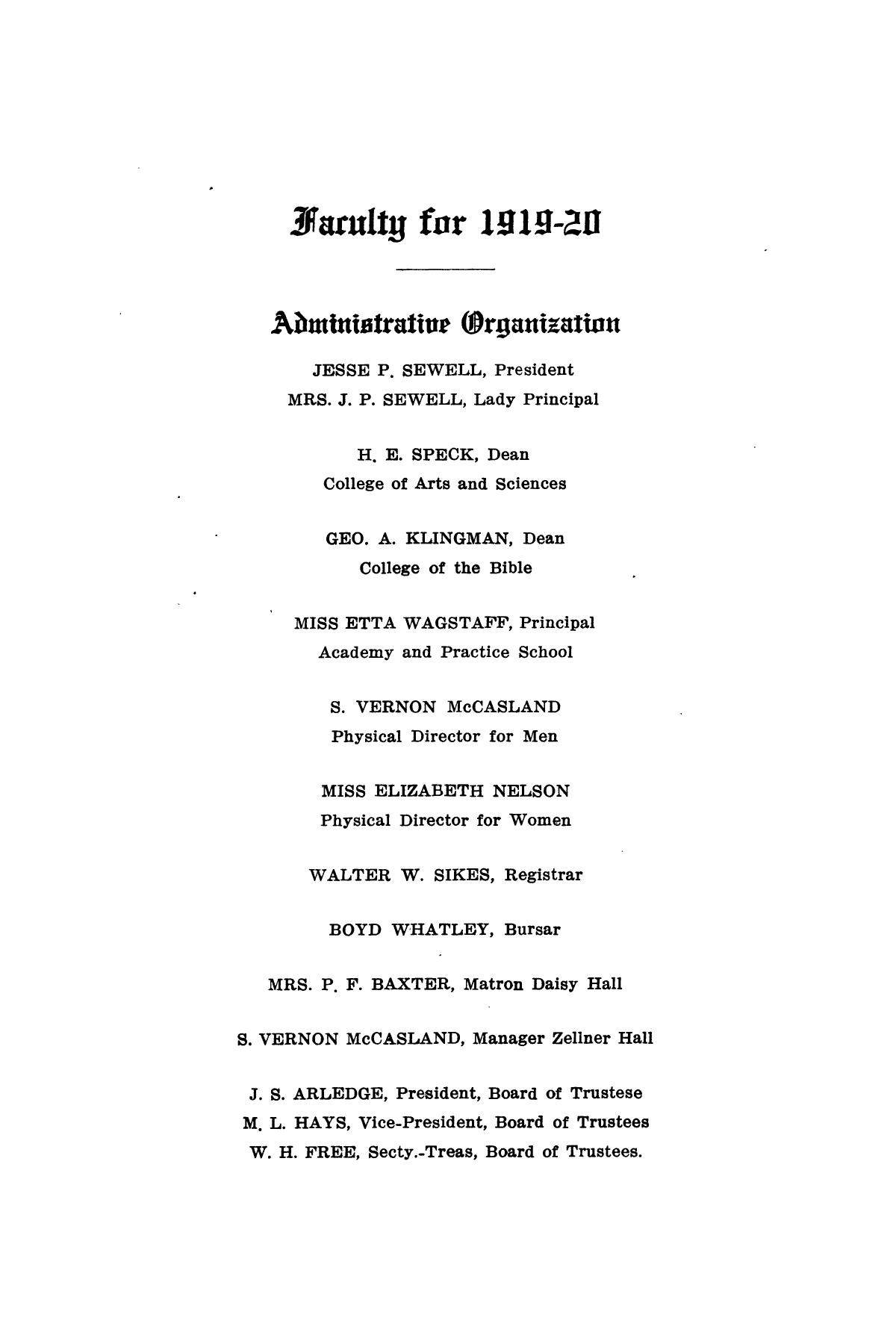 Catalog of Abilene Christian College, 1919-1920                                                                                                      [Sequence #]: 7 of 84