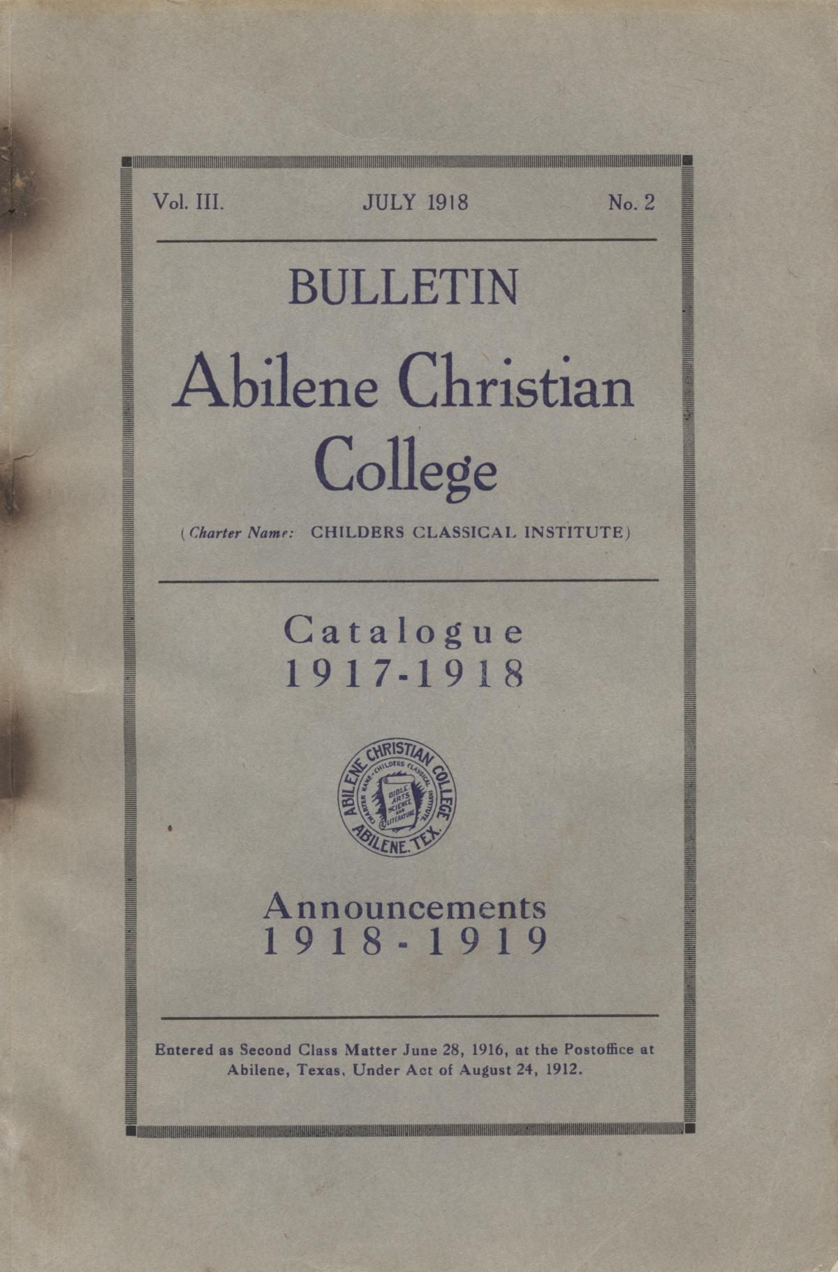 Catalog of Abilene Christian College, 1917-1918                                                                                                      [Sequence #]: 1 of 66