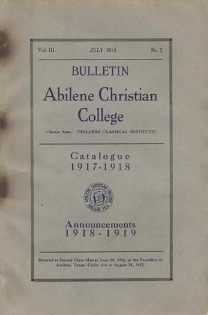 Primary view of object titled 'Catalog of Abilene Christian College, 1917-1918'.