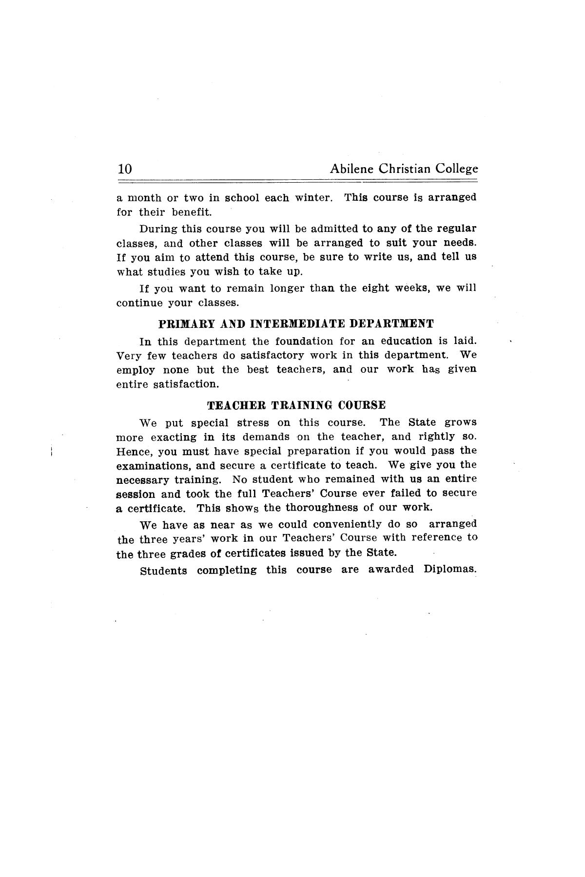 Catalog of Abilene Christian College, 1910-1911                                                                                                      [Sequence #]: 12 of 25