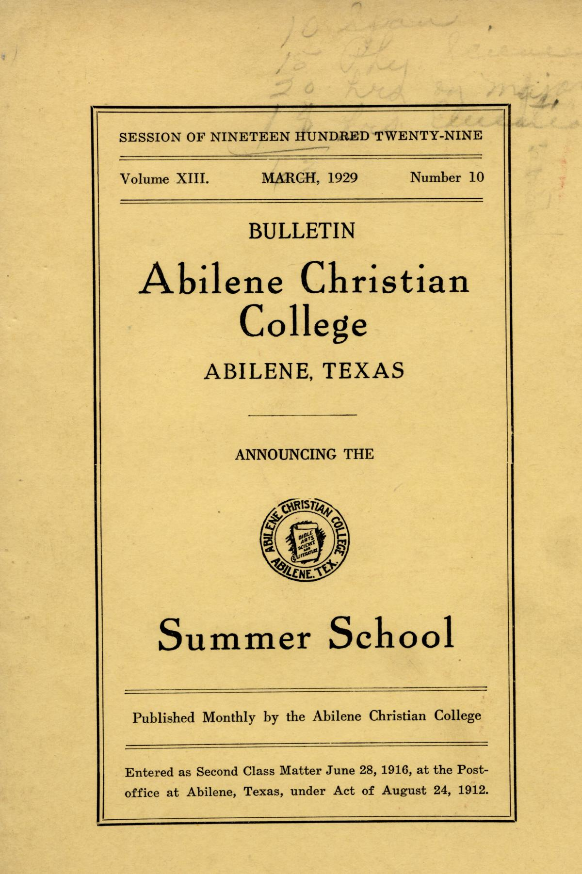 Catalog of Abilene Christian College, 1929                                                                                                      Front Cover