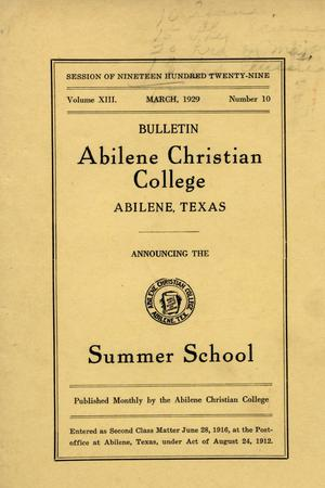 Primary view of object titled 'Catalog of Abilene Christian College, 1929'.