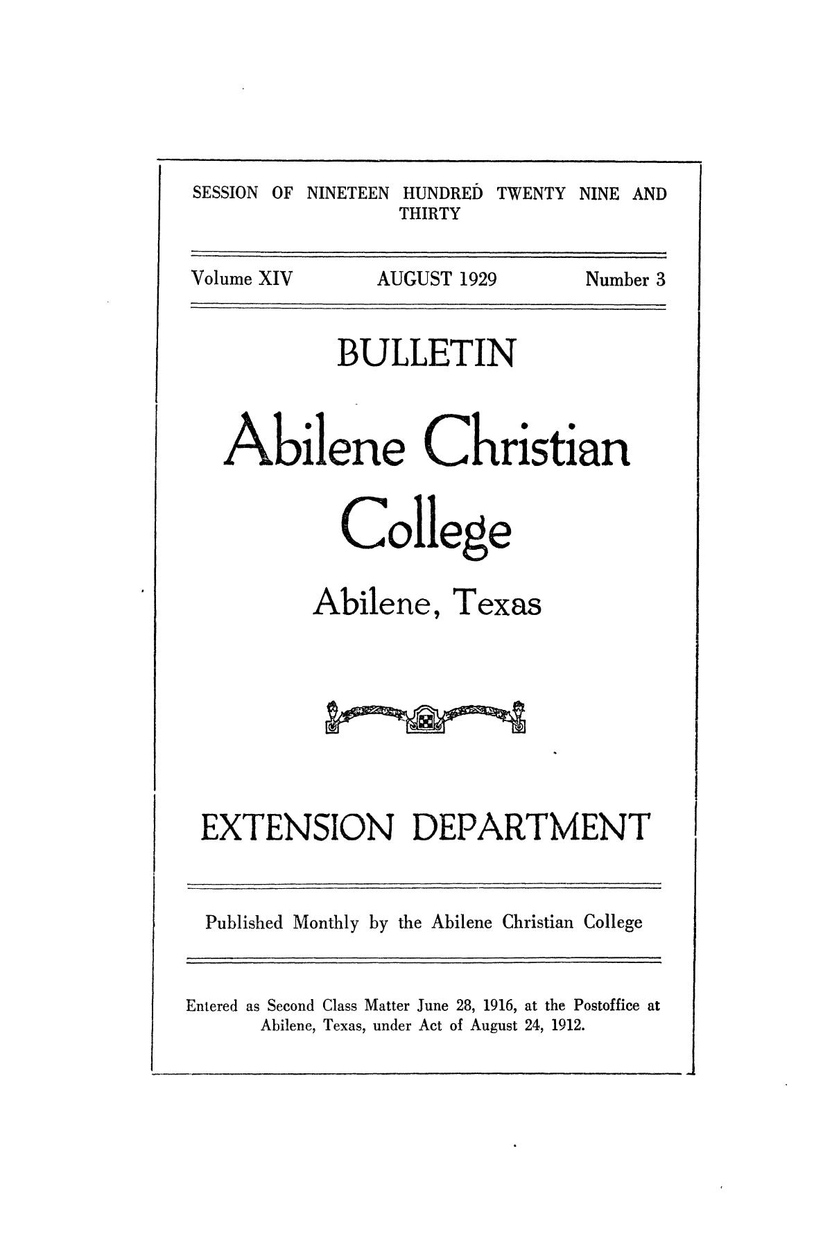 Catalog of Abilene Christian College, 1929-1930                                                                                                      Front Cover
