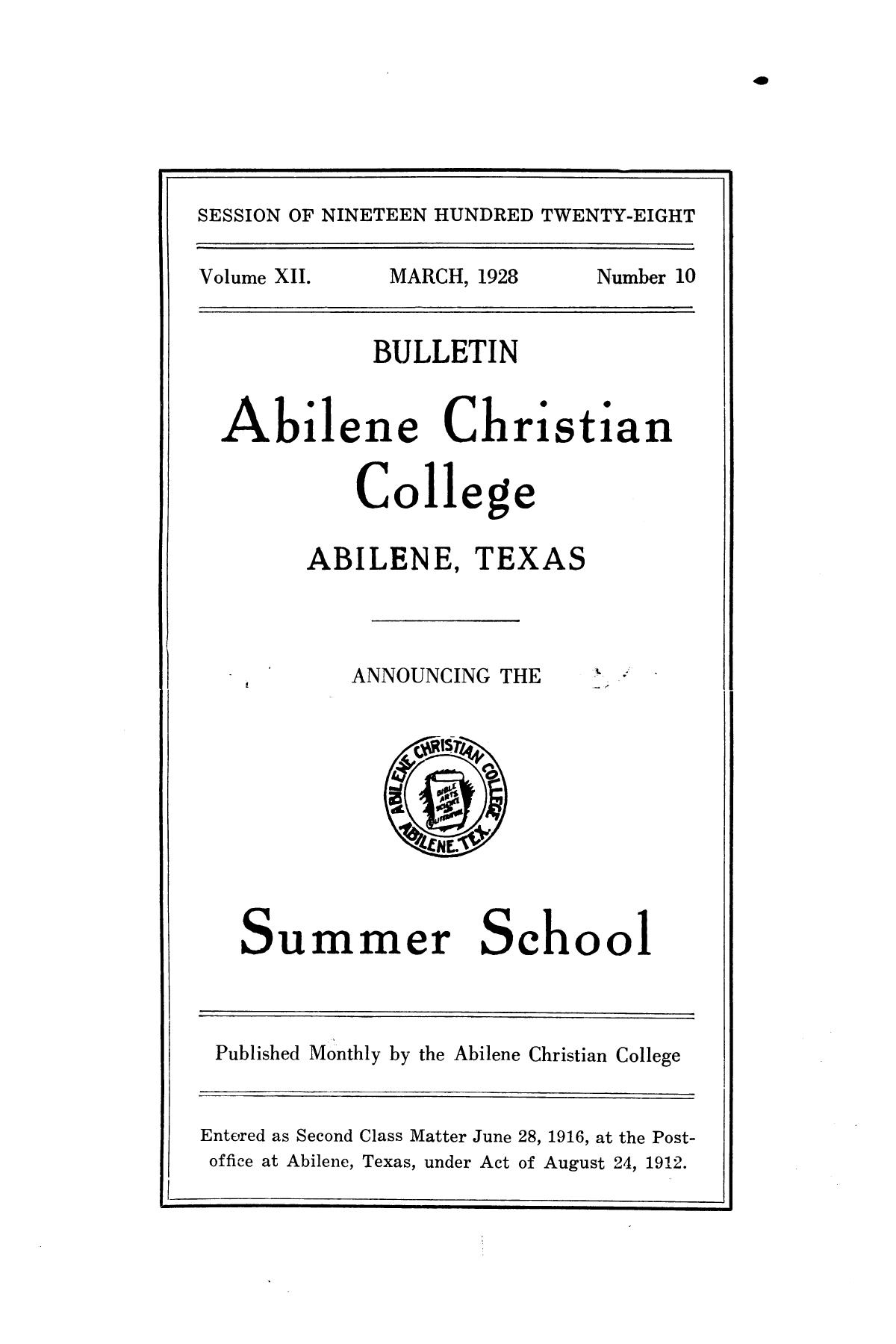 Catalog of Abilene Christian College, 1928                                                                                                      Front Cover