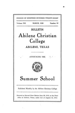 Primary view of object titled 'Catalog of Abilene Christian College, 1928'.