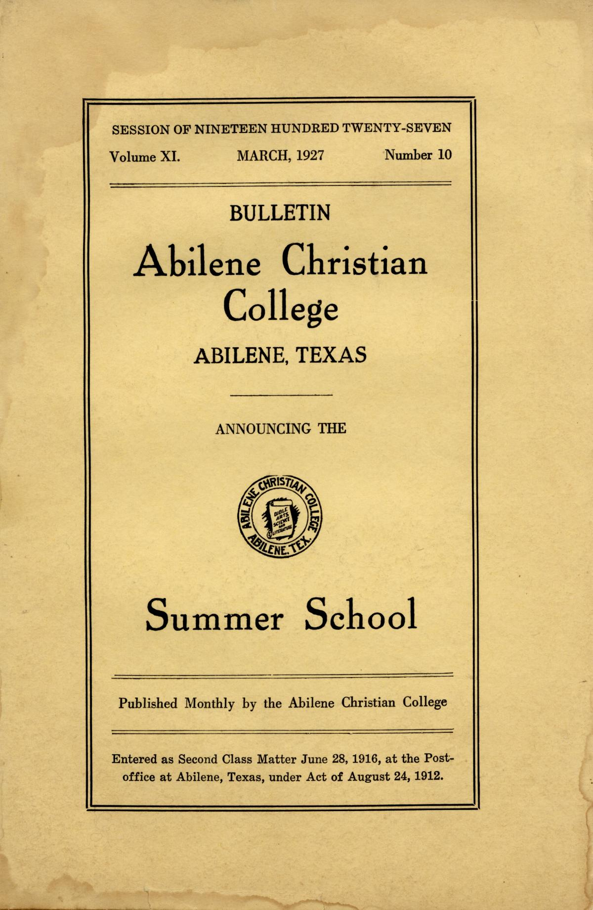 Catalog of Abilene Christian College, 1927                                                                                                      Front Cover