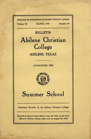 Primary view of object titled 'Catalog of Abilene Christian College, 1927'.