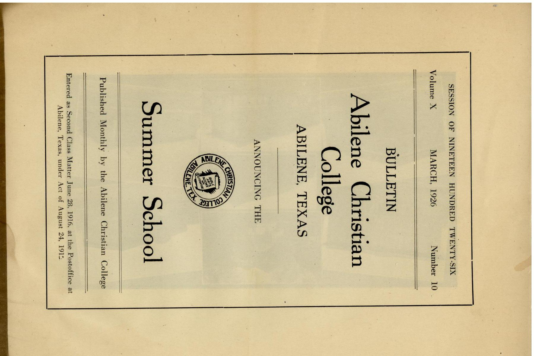Catalog of Abilene Christian College, 1926                                                                                                      Front Cover