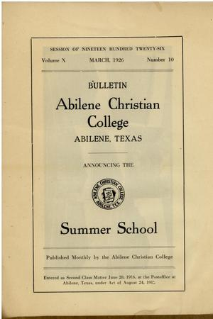 Primary view of object titled 'Catalog of Abilene Christian College, 1926'.