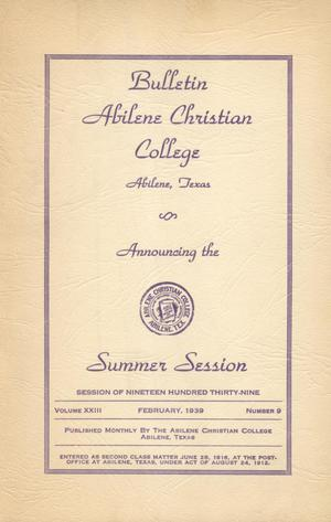 Primary view of object titled 'Catalog of Abilene Christian College, 1939'.
