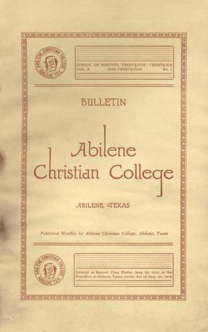 Primary view of object titled 'Catalog of Abilene Christian College, 1925-1926'.