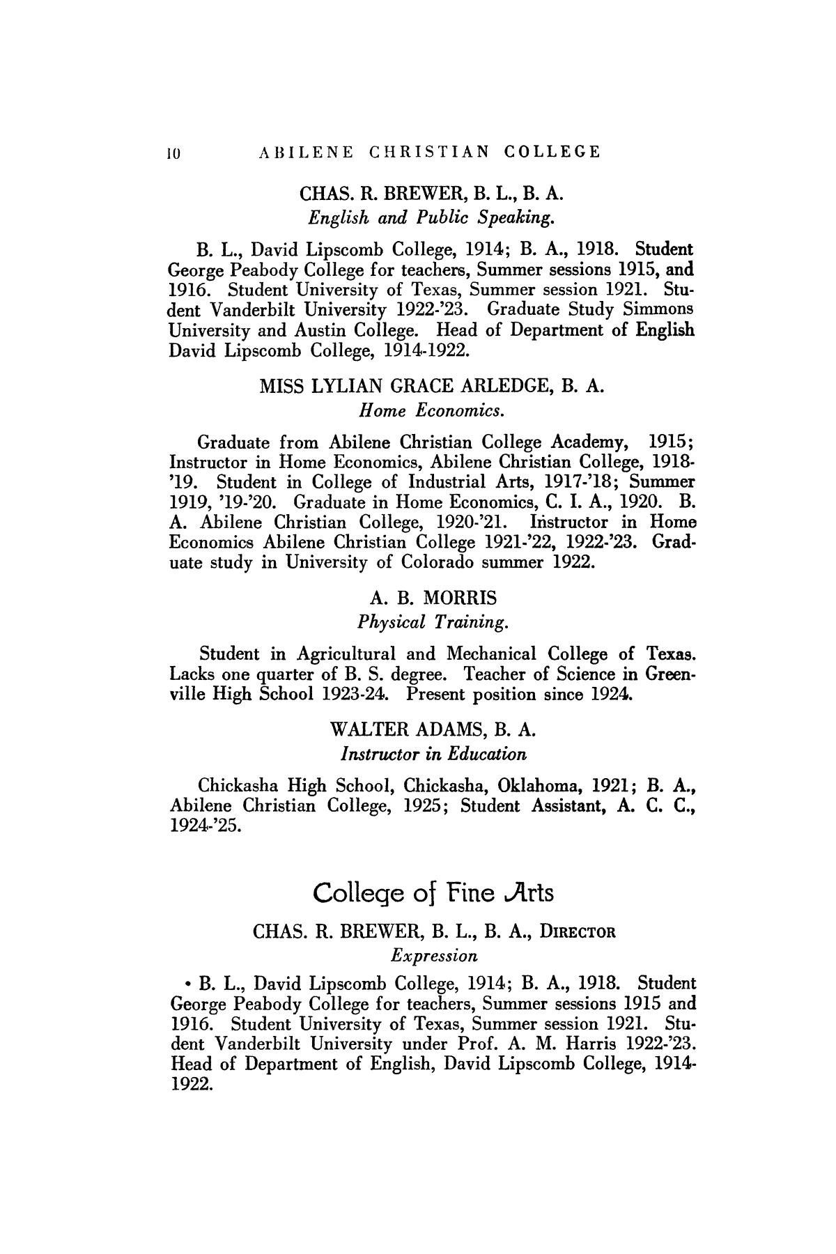 Catalog of Abilene Christian College, 1925-1926                                                                                                      10