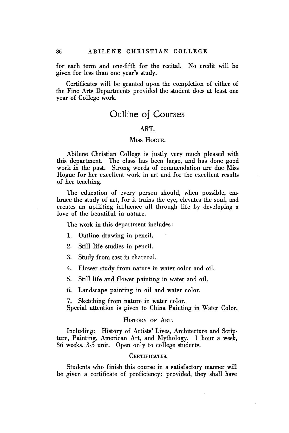 Catalog of Abilene Christian College, 1925-1926                                                                                                      86