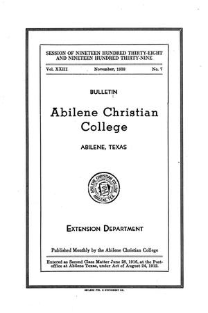 Catalog of Abilene Christian College, 1938-1939