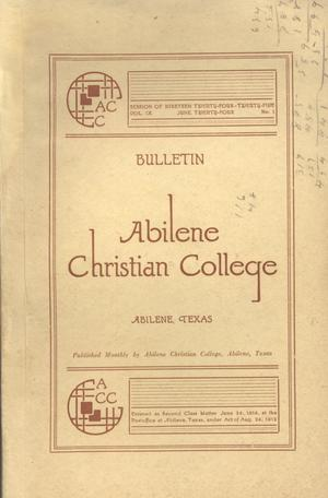 Primary view of object titled 'Catalog of Abilene Christian College, 1924-1925'.
