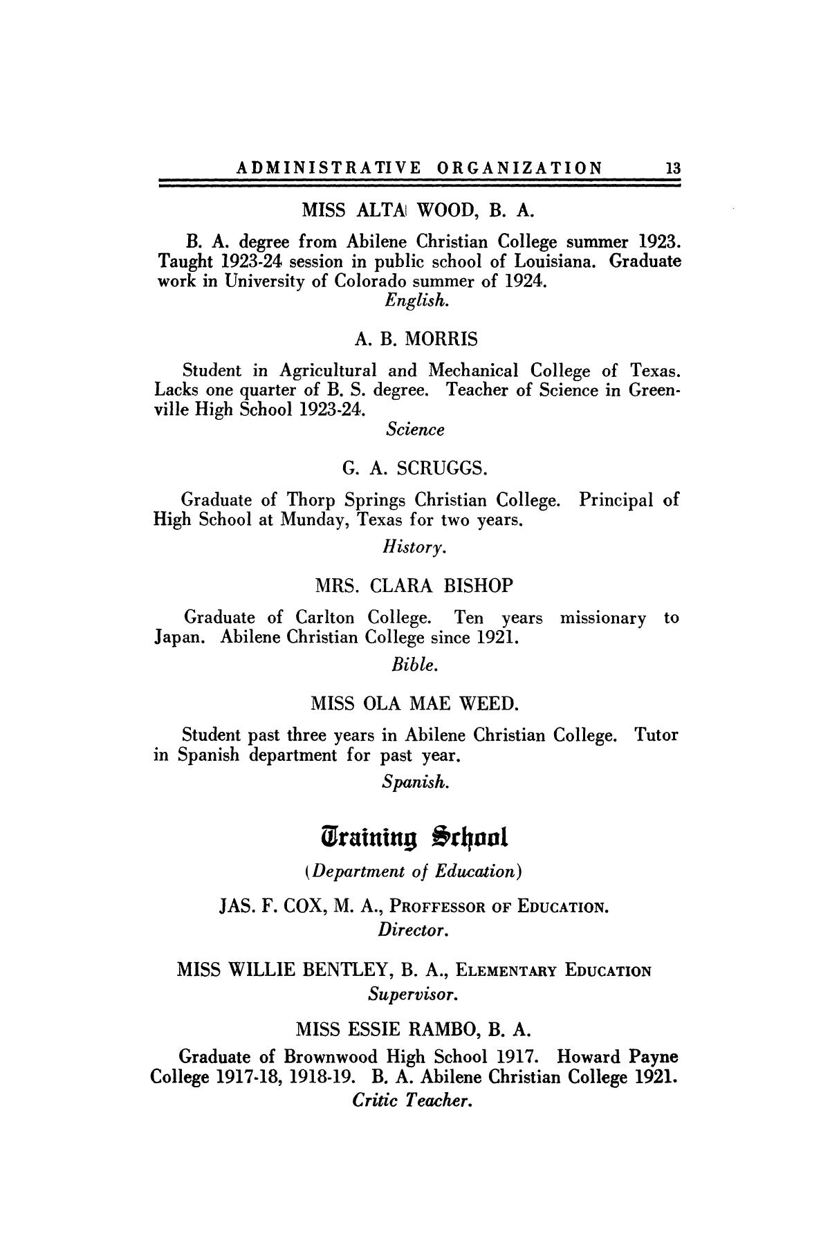 Catalog of Abilene Christian College, 1924-1925                                                                                                      13