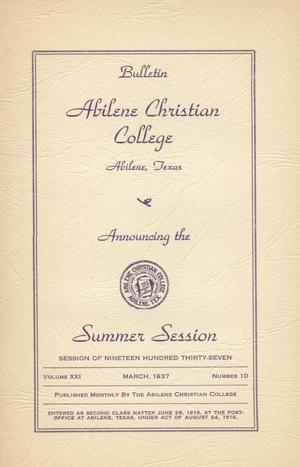 Primary view of object titled 'Catalog of Abilene Christian College, 1937'.