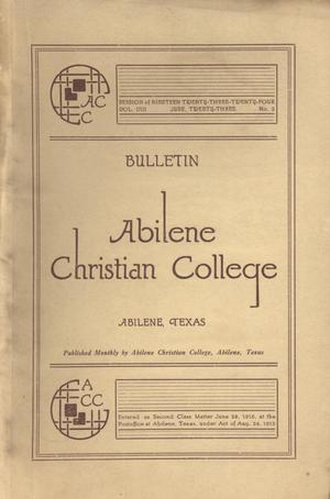 Primary view of object titled 'Catalog of Abilene Christian College, 1923-1924'.