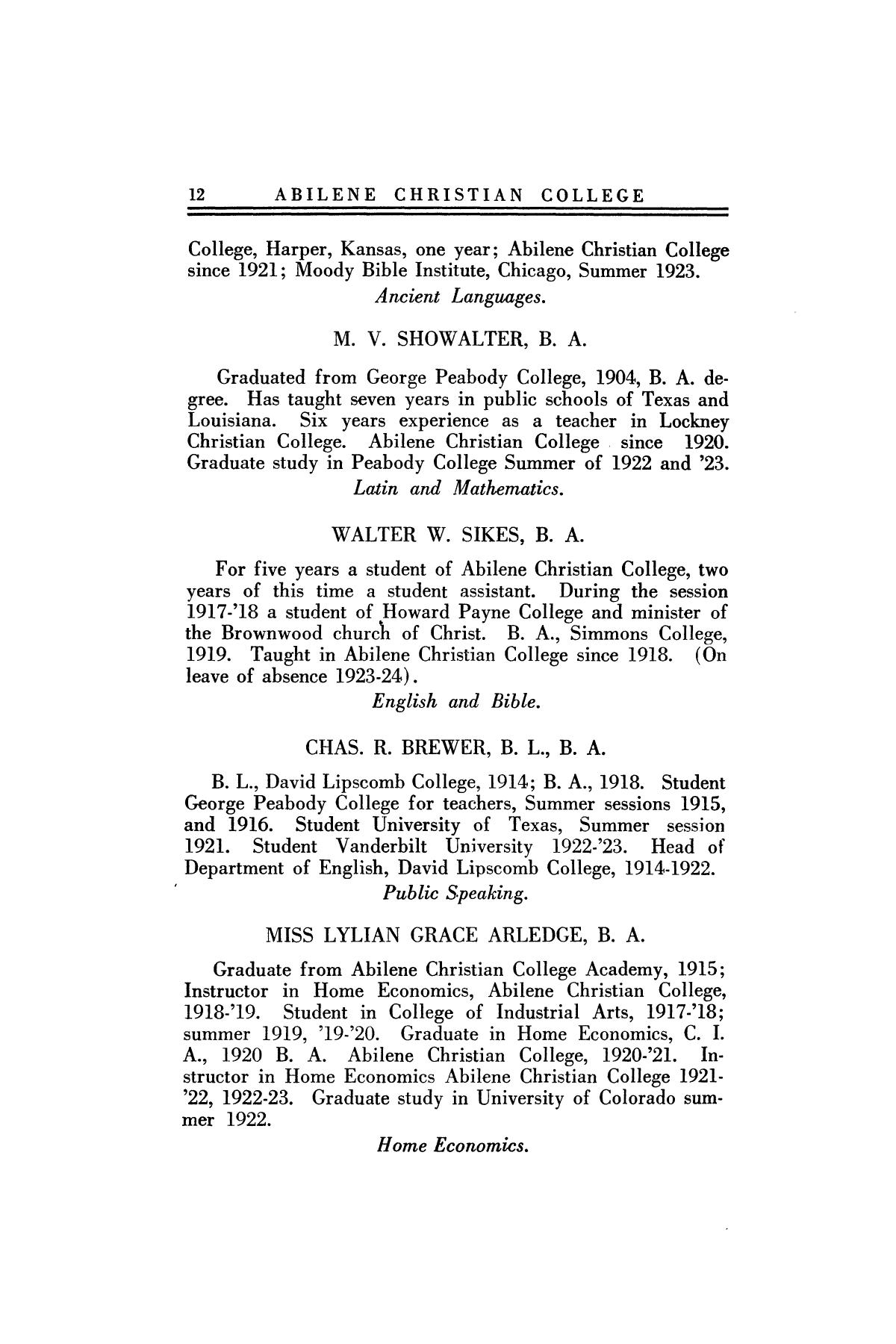 Catalog of Abilene Christian College, 1923-1924                                                                                                      12