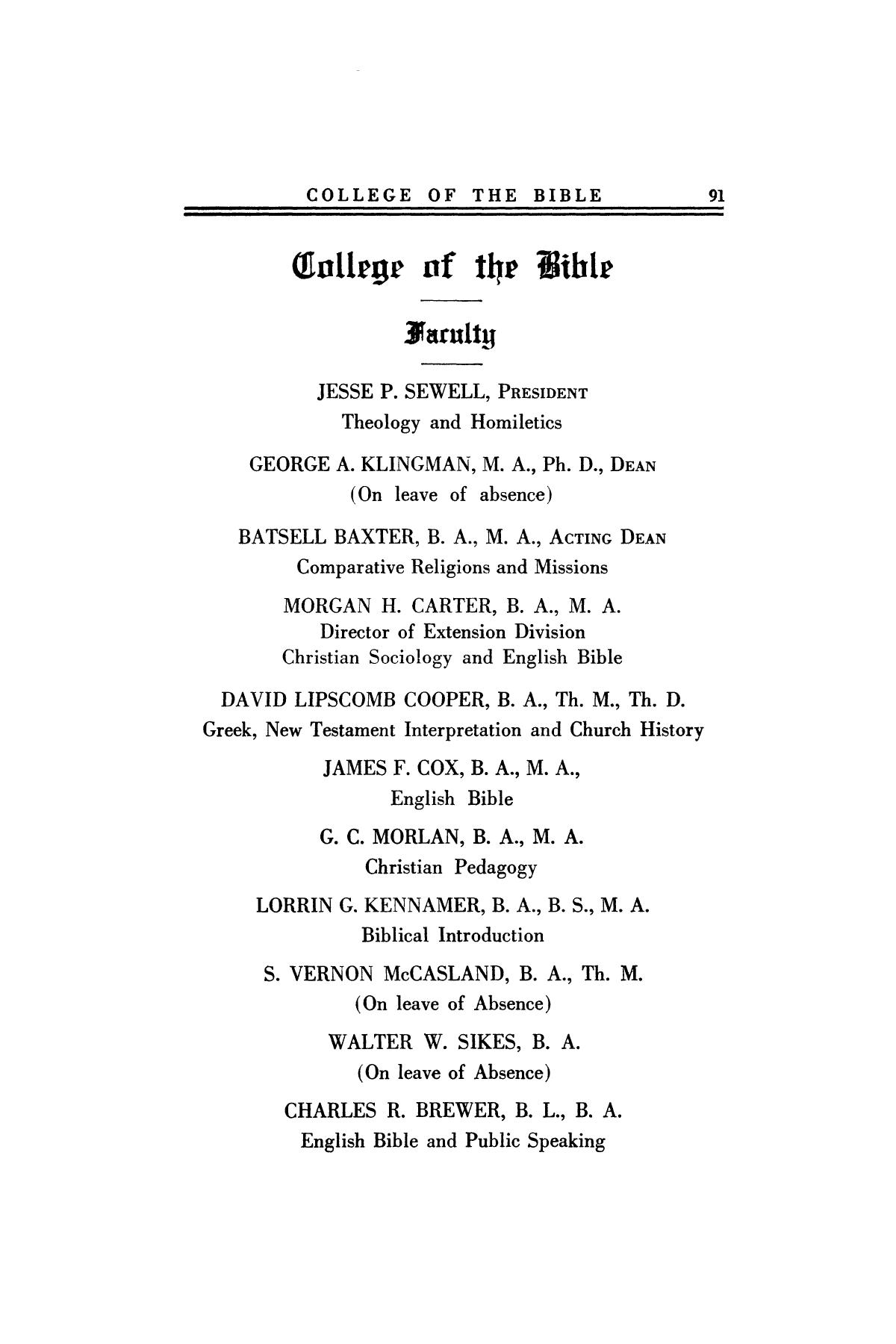 Catalog of Abilene Christian College, 1923-1924                                                                                                      91
