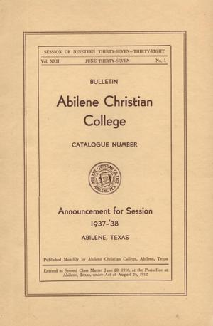 Primary view of object titled 'Catalog of Abilene Christian College, 1937-1938'.