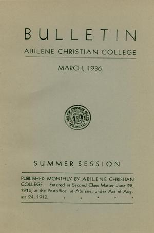 Primary view of object titled 'Catalog of Abilene Christian College, 1936'.