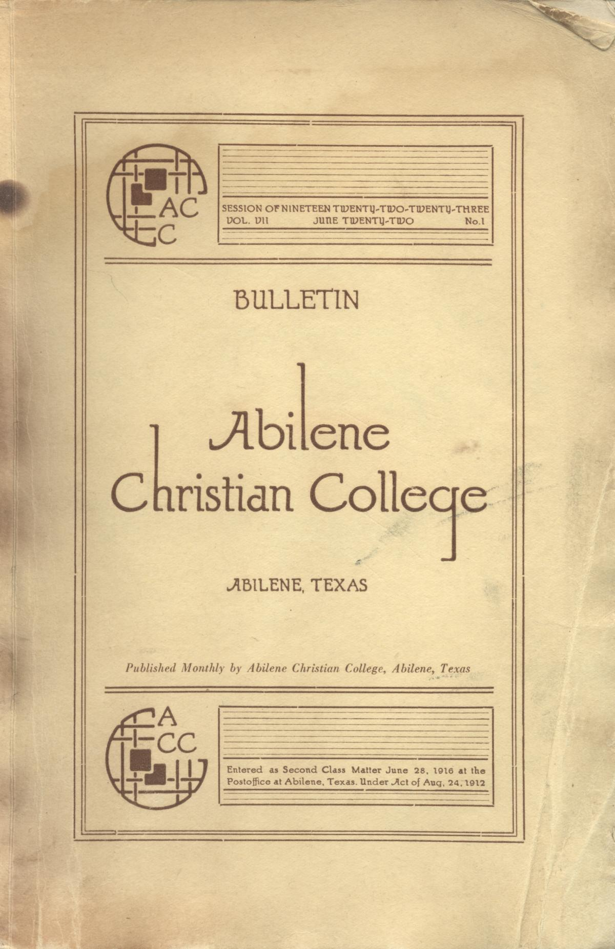 Catalog of Abilene Christian College, 1922-1923                                                                                                      Front Cover